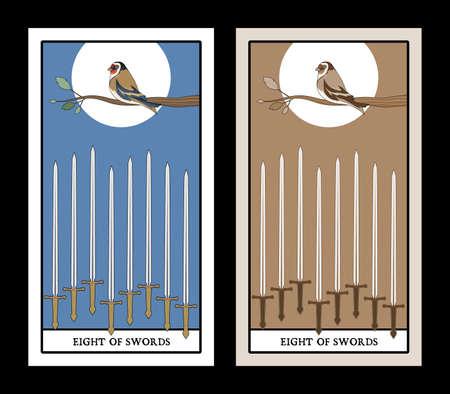 Eight of swords. Tarot cards. Bird on a branch on eight swords 矢量图像