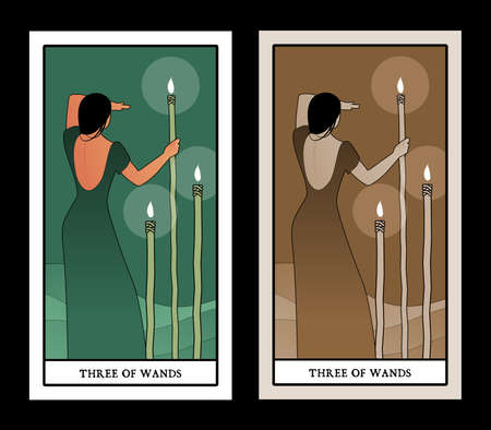 Three of wands. Tarot cards. Woman on her back, looking away, in the sea with three torches on sticks