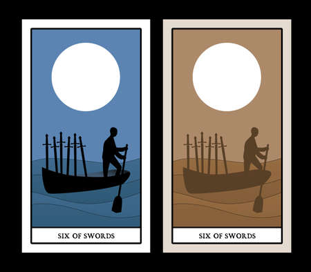 Six of swords. Silhouette of person rowing in the distance, in a boat on the sea, carrying six swords.