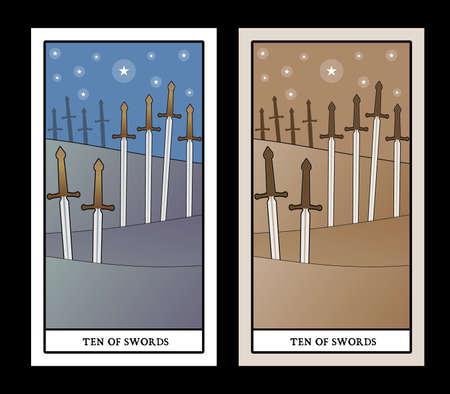 Ten of swords. Tarot cards. Ten swords stuck on the ground in the countryside