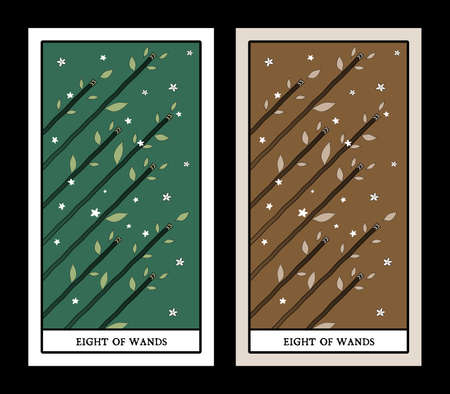 Eight of wands. Tarot cards. Eight rods in the air, surrounded by leaves, clovers and flowers
