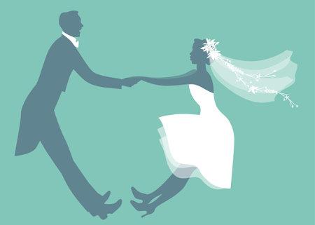 Funny wedding couple dressed vintage style wedding clothes dancing in retro style Vektorgrafik