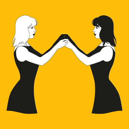 Illustration of two twin girls with joined hands facing each other. Gemini. Illustration