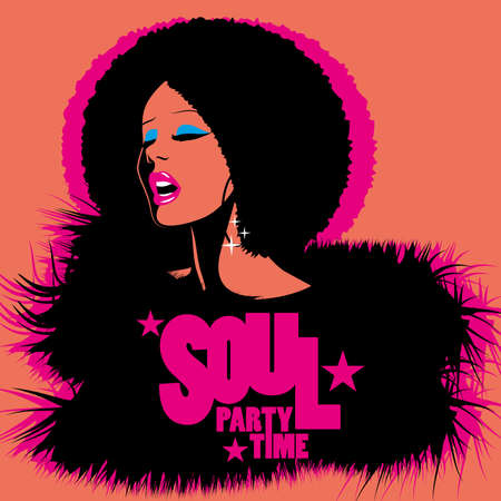 Soul Party Time. Soul, funk, jazz or disco music poster. Beautiful African American woman singing. Ilustración de vector