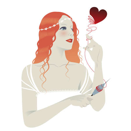Beautiful girl with a spindle in her hand unraveling a heart isolated on white background. Vector fairy tale illustration. Illusztráció