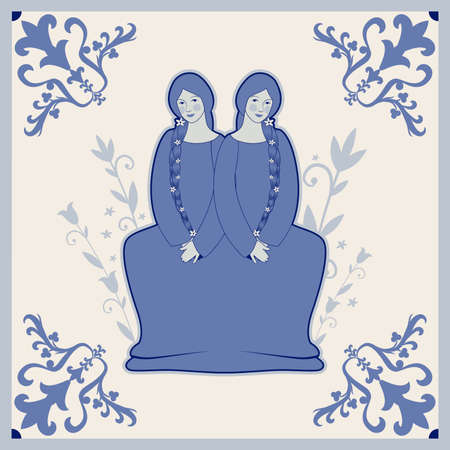 Illustrated ceramic tile. Two beautiful twins inside in an ornamental frame. Medieval style