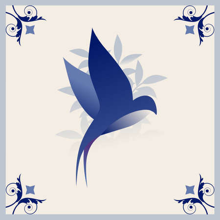 Illustrated ceramic hydraulic tile typical of Spain, Italy and Portugal. Stylized vintage retro flower and leaves. Stylized image of bird 矢量图像