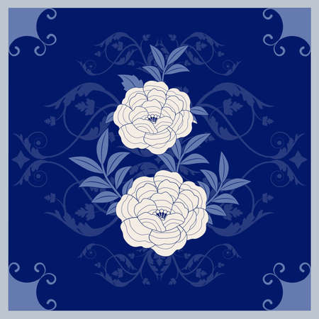Illustrated ceramic hydraulic tile typical of Spain, Italy and Portugal. Stylized vintage retro flower and leaves