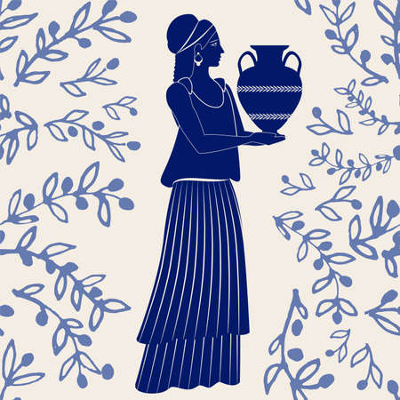 Illustrated ceramic tile. Ancient Greece girl carrying an amphora and olive branches on background