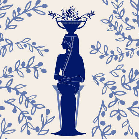 Illustrated ceramic tile. Woman dressed in the style of ancient Greece, sitting on a tripod and carrying an amphora with olive branches on her head 矢量图像