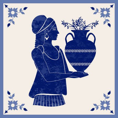 Illustrated ceramic tile. Ancient Greece girl carrying an amphora with olive branches