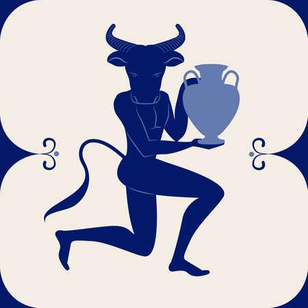 Illustrated ceramic tile. Minotaur knee in earth carrying an amphora 矢量图像