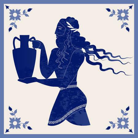 Illustrated ceramic tile. Ancient Greece man carrying an amphora