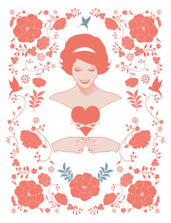 Beautiful woman in retro style showing a thorned heart, surrounded by floral frame and birds inspired by oriental fabrics