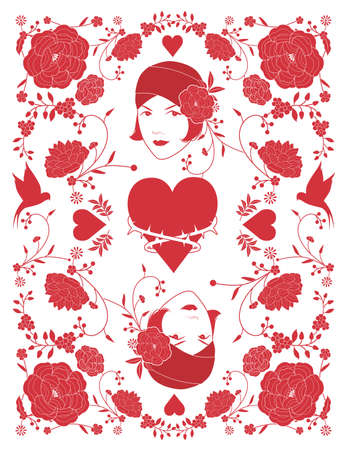 Beautiful retro style woman, surrounded by floral frame and birds inspired by oriental fabrics