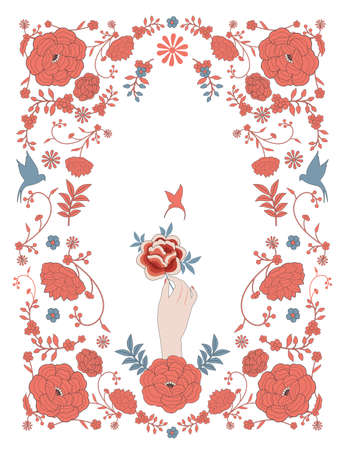 Floral frame inspired by embroidered fabrics in vintage oriental style, hand holding flower and mockingbird