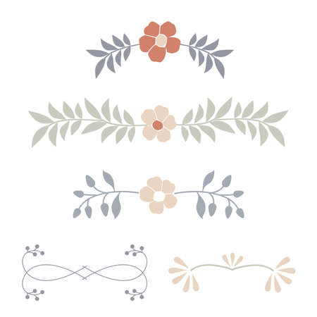 Botanical ornaments dividers of delicate and stylized flowers 矢量图像