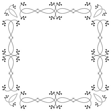 Ornamental botanical frame isolated on white background