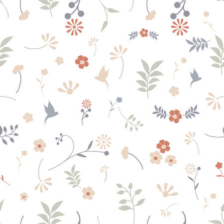 Botanical seamless pattern of delicate and stylized flowers and birds 矢量图像