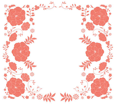Floral frame inspired by embroidered fabrics in vintage oriental style