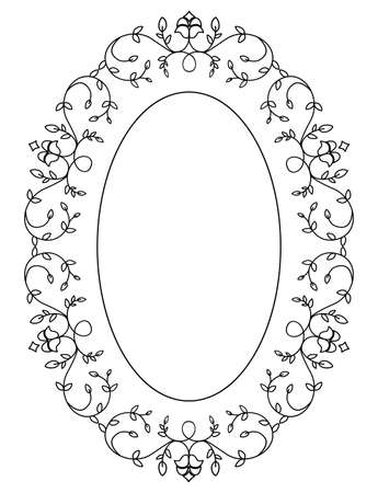 Antique ornamental flowery frame in vintage style and blank space, isolated on white background