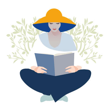 Woman with hat reading a book, sitting relaxed summery atmosphere. Olive branches in the background.
