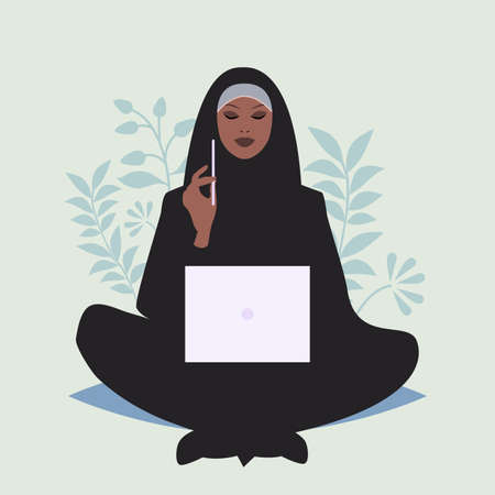 Arabian business woman sitting comfortably with a laptop and a pencil, surrounded by plants