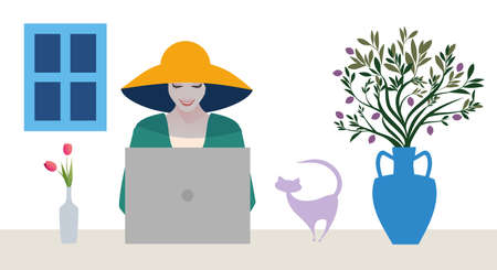 Woman with computer in a relaxed Mediterranean style accompanied by a cat. Architectural and decorative elements of the Greek islands, tulips and olive branches in an amphora. 矢量图像