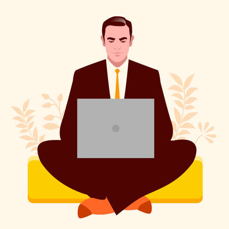 Businessman sitting in lotus position working on laptop, calm and relaxed, surrounded by plants and flowers.