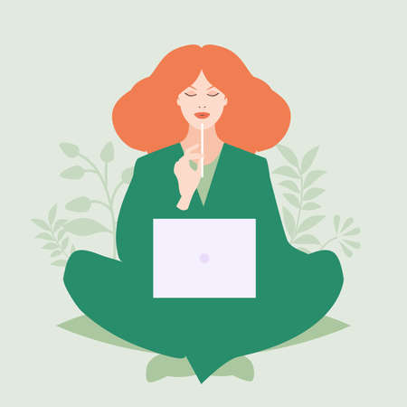 Red-haired woman sitting comfortably with a laptop and a pencil, surrounded by plants
