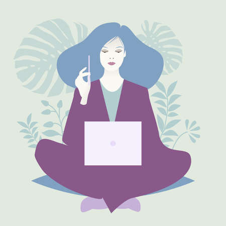 Oriental woman sitting comfortably with a laptop and a pencil, surrounded by plants