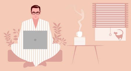 Businessman, sitting comfortably, wearing glasses and pajamas, with his laptop, working at home in the company of a cat and a steaming coffee 矢量图像