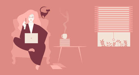 Business woman, sitting comfortably with her laptop, working at home in the company of a cat and coffee 矢量图像