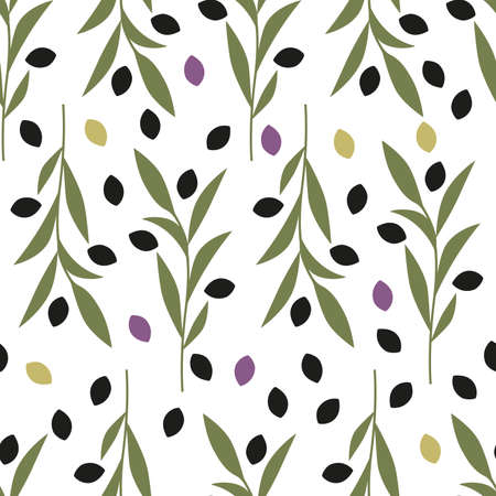Seamless pattern of olive branches iisolated on white background 矢量图像