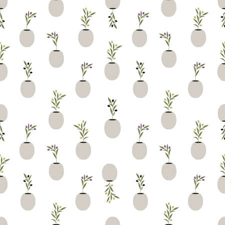 Seamless pattern of olive branches in pots isolated on white background