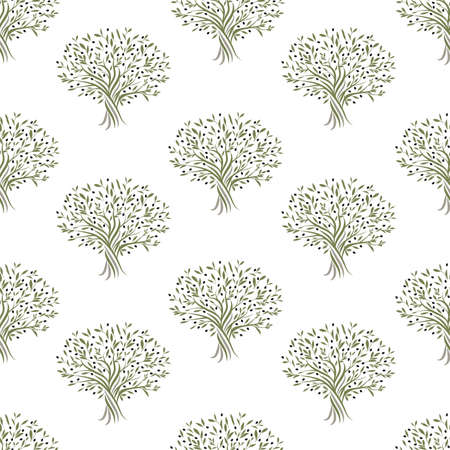 Seamless pattern of olive trees isolated on white background 矢量图像