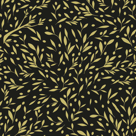 Seamless pattern of olive branches, olives and leaves, isolated on dark background 矢量图像