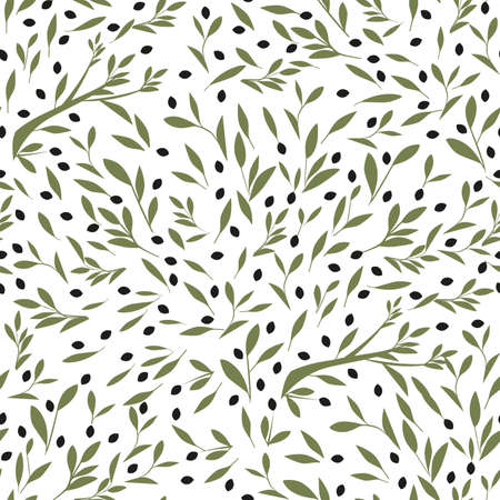 Seamless pattern of olive branches, olives and leaves, isolated on white background