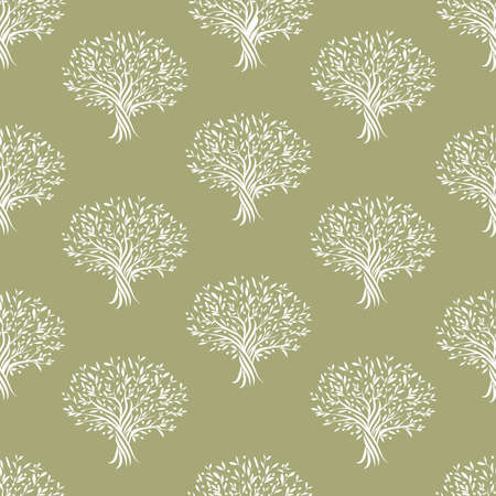 Seamless pattern of olive trees isolated on green background