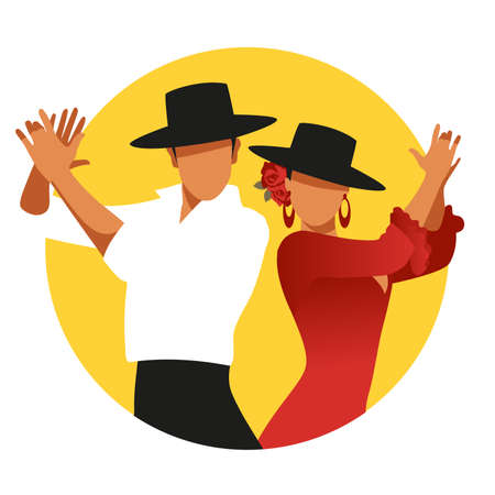 Couple of Spanish flamenco dancers wearing typical hats, playing clapping. Yellow circle on white background