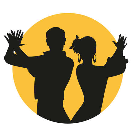 Couple of Spanish flamenco dancers silhouettes playing clapping. Yellow circle on white background