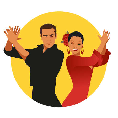 Couple of Spanish flamenco dancers playing clapping. Yellow circle on white background