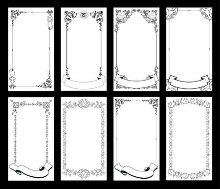 Ornamental retro style frames, banners for text and blank space for tarot cards, invitations, weddings, celebrations. 矢量图像