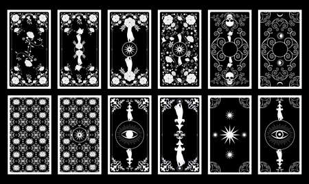Back of Tarot card or playing card with floral ornamental elements and esoteric symbols. Victorian vintage style 免版税图像