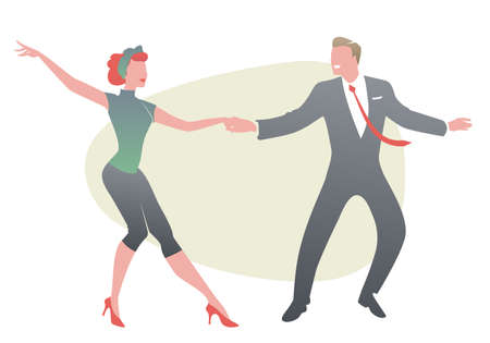 Funny couple wearing retro clothes dancing jazz, swing or rock and roll