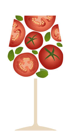 Tomato juice or cocktail. Tomato slices and basil leaves, isolated on white background