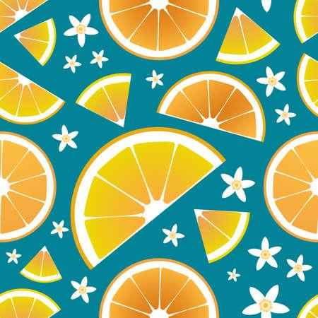 Slices of orange and orange tree leaves and flowers seamless pattern