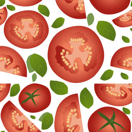 Tomato slices and basil leaves, isolated on white background seamless pattern