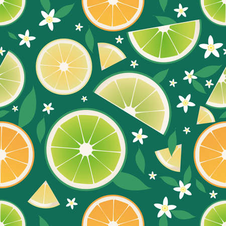 Seamless pattern of slices of orange, lemon, lime and orange leaves and flowers