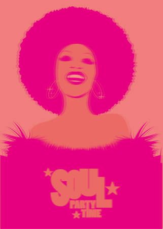 Beautiful woman with afro style curly hair, acid colors. Hologram simulation. Poster music soul, funk or disco style 60s or 70s 矢量图像